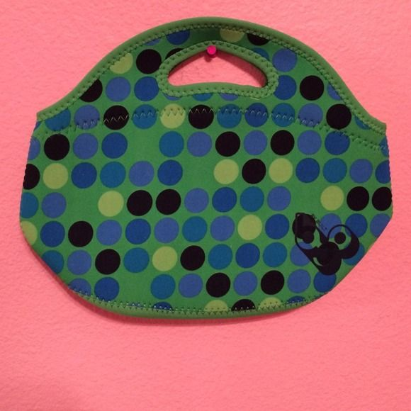 Cute lunch box never used polka dot Cute lunch box has polka dots on it, lots of space polyester brand new Barbour Bags