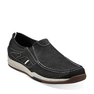 Clarks Originals - Watkins Park Navy Nubuck Suede $100. With stitching details and mesh panels, this men's slip-on shoe elevates classic sporty style. Made of supple nubuck and suede in navy, it's lined in mesh and suede to enhance breathability and protect the foot. A removable footbed and durable rubber outsole provide layers of cushioning for all-day action. Gives a boost to denim, khakis, and cords.