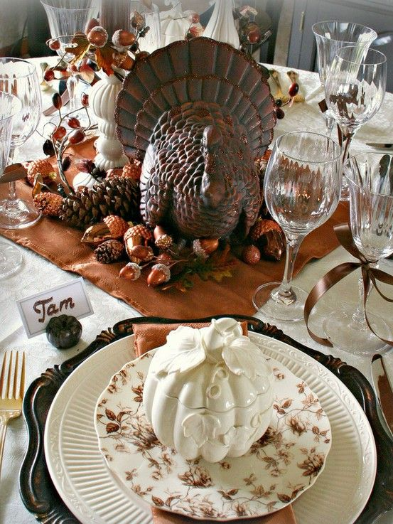 Setting for Four: Who Wants Some Thanksgiving Tablescape Ideas?  This is my favorite of the bunch.  In love with the covered pumpkin soup bowls. :)