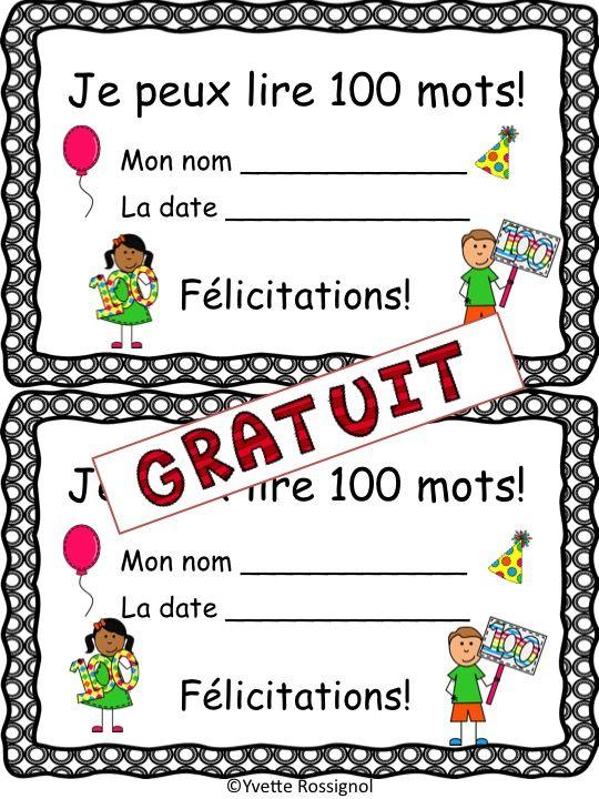 Qui peut lire 100 mots fréquents? Parfait pour motiver, féliciter et évaluer les élèves à la fin de l'année.