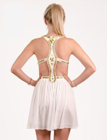 Nikau dress from www.belleroad.co.nz Backless aztec metallic beaded white party dress