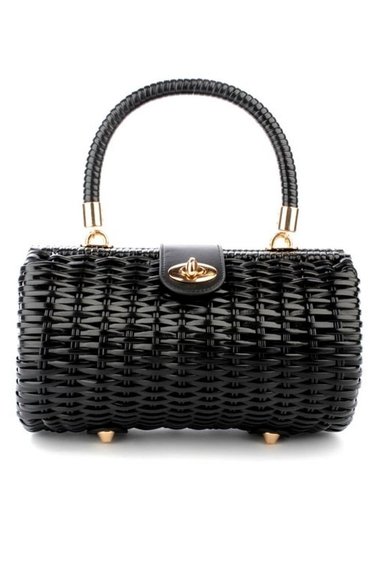 Pinup Couture - 50s Vintage Wicker Baguette Purse in Black
