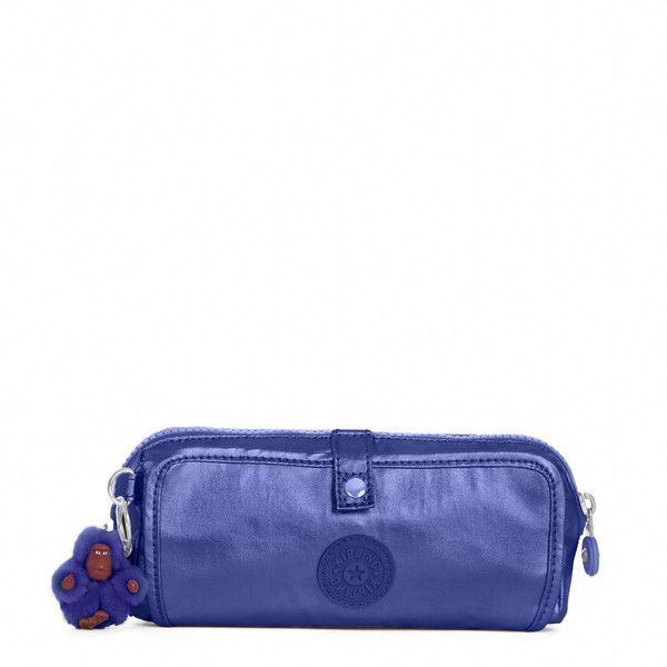 Kipling Wolfe Metallic Roll-Up Pencil Pouch ($39) ❤ liked on Polyvore featuring home, home decor, office accessories, enchanted purple metallic, zipper pencil case, purple pen, kipling, purple pencil case and writing pens
