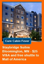 Staybridge Suites Bloomington MN- hotel stay and VISA card and free shuttle to Mall of America!
