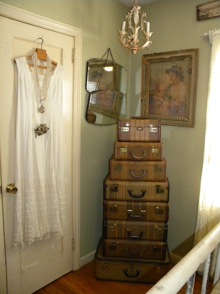 Antique Suitcases would make wonderful storage in a bedroom corner.