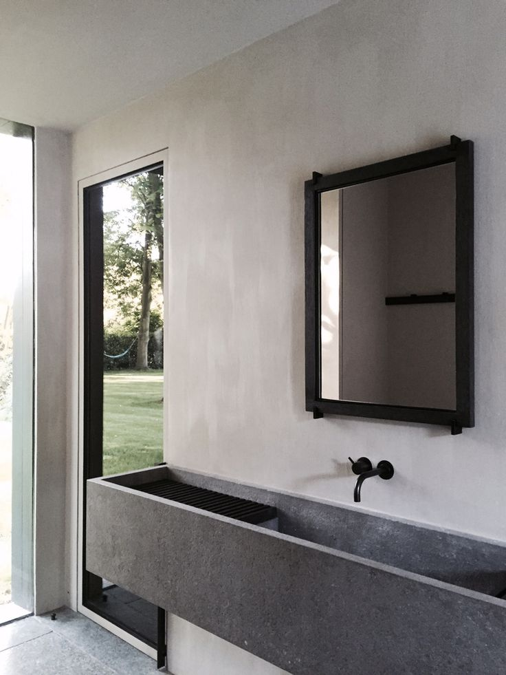 Minimalist Bathroom // linear concrete sink at the COPP POOLHOUSE