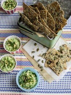 Pea, parsley & cheddar dip with pumpkin seed crackers