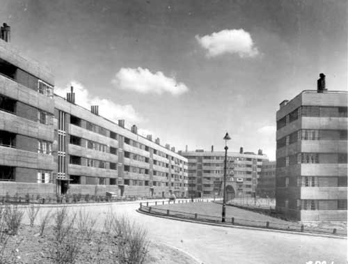 Lupton House with Kitson House at the rear, a children's play area at the centre (c) Leeds Library and Information Service Quarry Hill Leeds