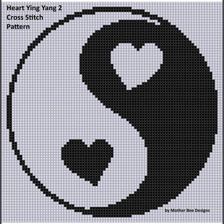 Heart Ying Yang 2 Cross Stitch Pattern | Craftsy