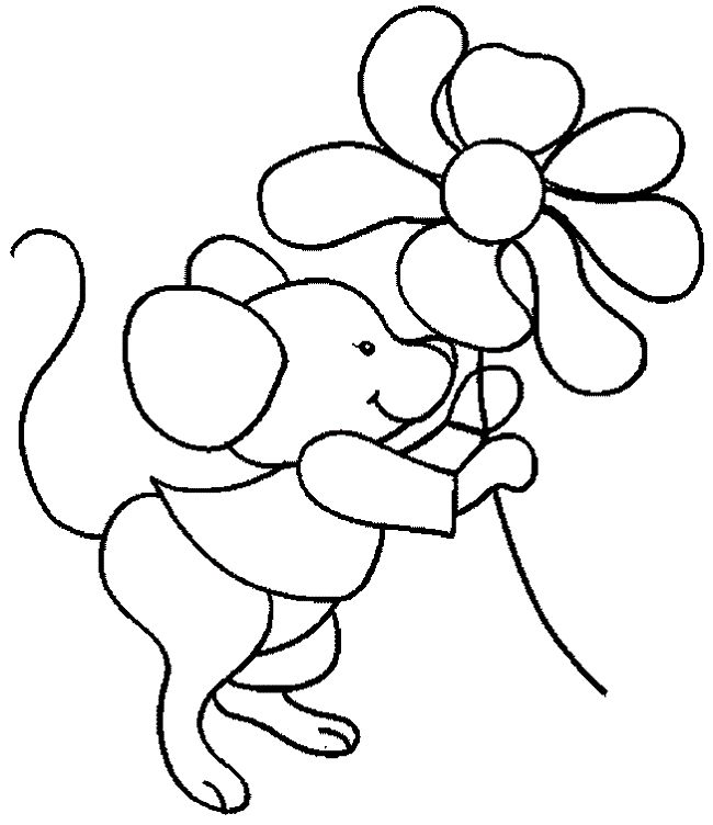Mouse With Flower Colouring Pages