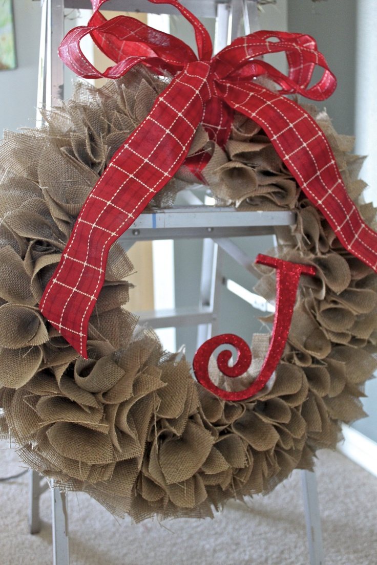 "My burlap wreath with ""J"" initial 