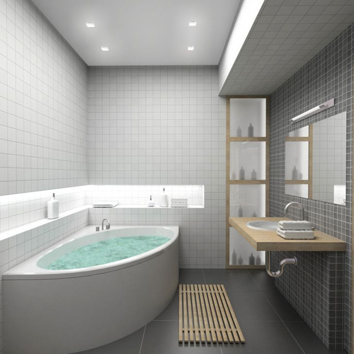 Bathroom Small Bathroom With White Ceramic Tiles And Corner Bathtub And Wooden Countertop - pictures, photos, images