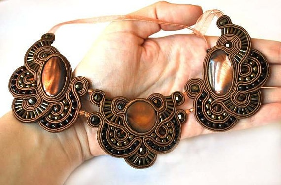 Shades of Brown Soutache Necklace NO SHIPPING by AnnKaHandmade, €138.00