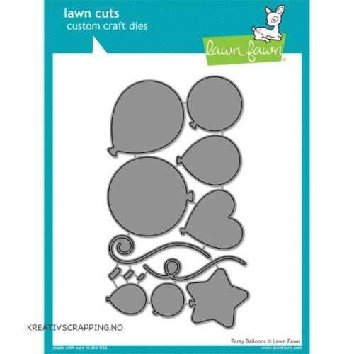 LAWN FAWN - DIES LF856 - PARTY BALLOONS DIES fra LAWN FAWN, passer perfekt til lommescrapping prosjekter. Approximate die sizes: W 7 in / 17,78 cmH 10,25 in / 26,04 cmD .1 in / .25 cm  LAWN FAWN - Lawn Cuts Custom Craft Dies - High quality steel craft dies. Some coordinate with stamp sets for even more creative choices.These dies are made of 100% high quality steel; are compatible with most die-cutting machines; and will inspire you to create cute crafts! Flere spennende produkter finn...