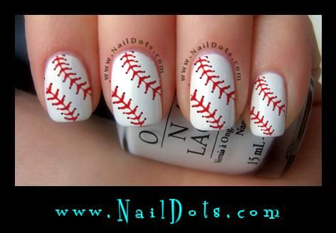 Baseball Laces Nail Decals! Baseball Nails