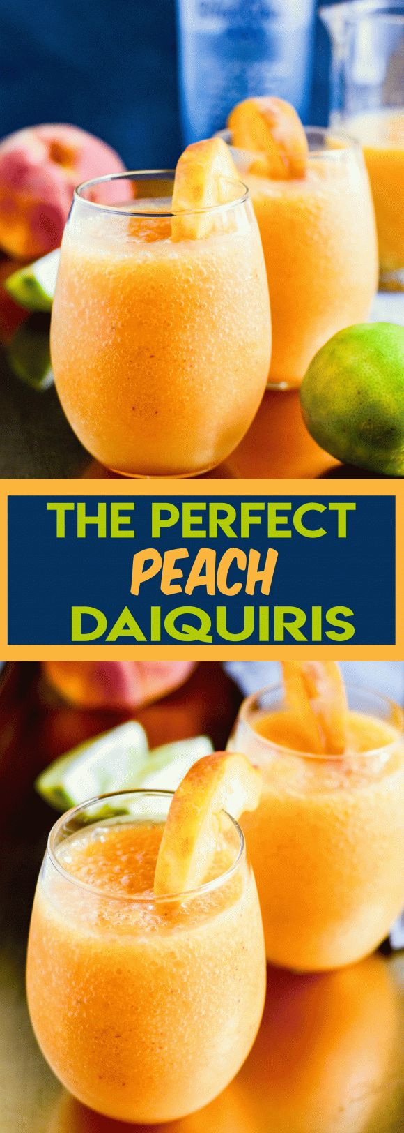 With Labor Day coming up, you can never have too many cocktail recipes in your arsenal. These The Perfect Peach Daiquiris will be the hit of your party!