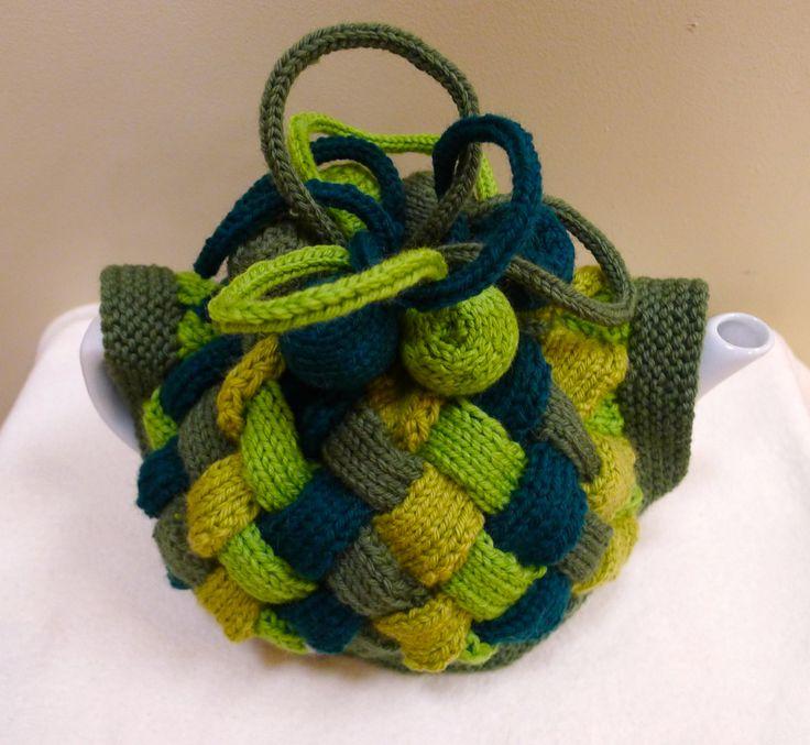 Entrelac Tea Cosy with embellishments