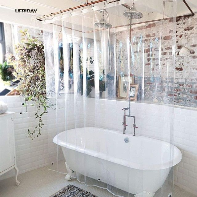 Ufriday Peva Shower Curtain Transparent Liner With Magnets Bottom