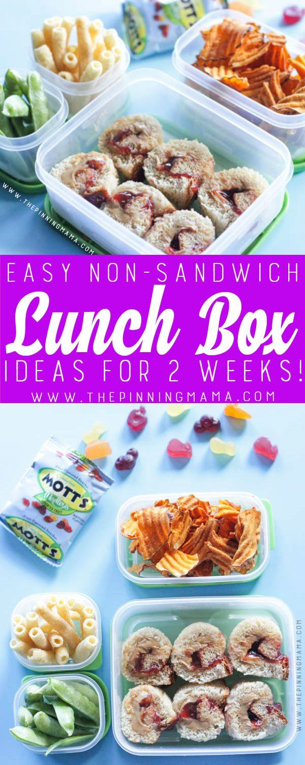 Peanut Butter & Jelly Roll Up Lunch box idea - Just one of 2 weeks worth of non-sandwich school lunch ideas that are fun, healthy, and easy to make! Grab your lunch bag or bento box and get started!