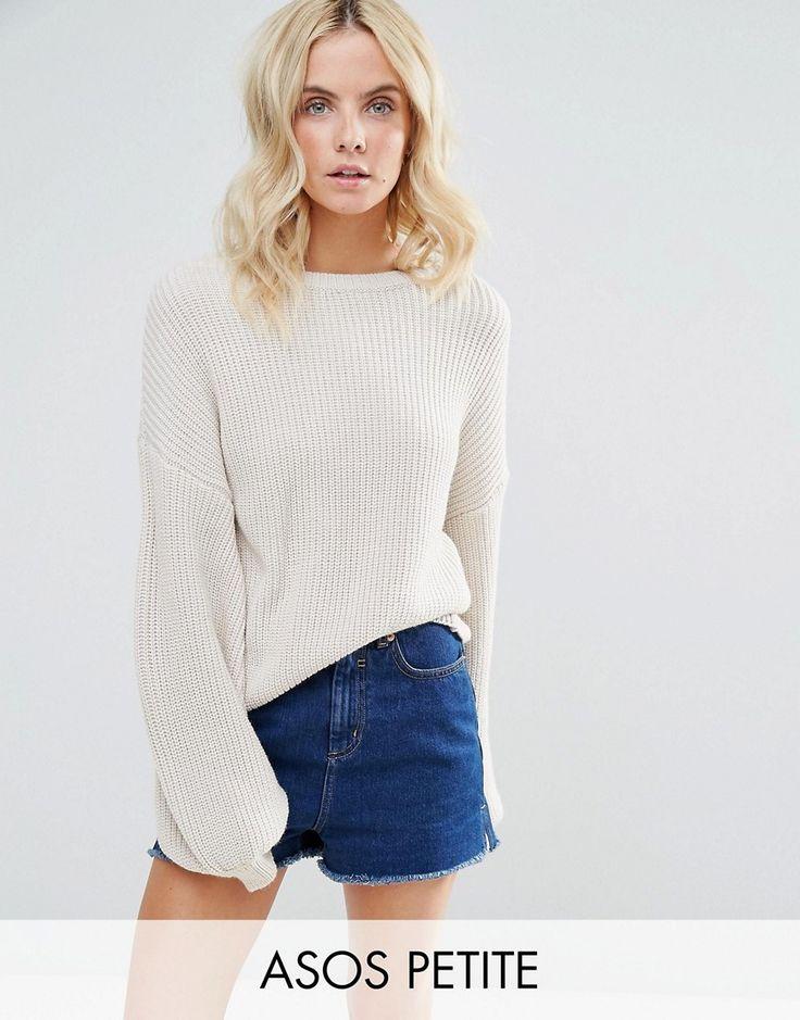ASOS PETITE Sweater With Volume Sleeve - Stone