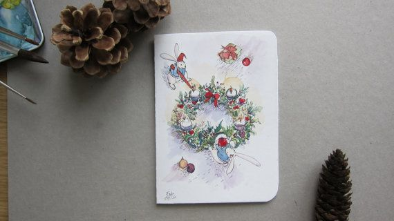 Christmas card Hand made cards original artwork by by Fahfield, kr35.00