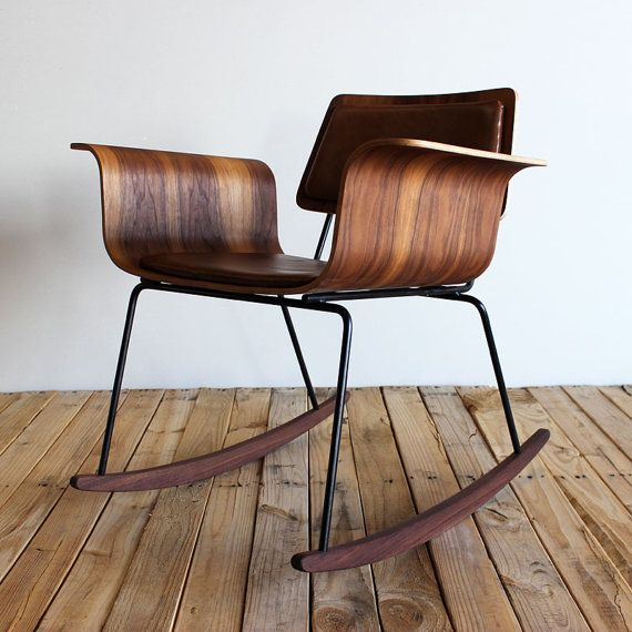 Molded plywood rocker Roxy chair Walnut/leather by onefortythree, $375.00