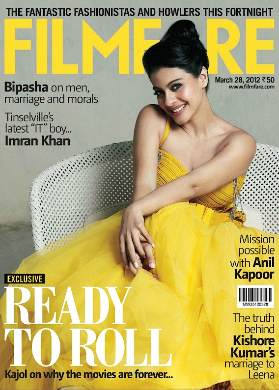 Filmfare's March 28: Kajol's Ready to Roll: I love this cover because she looks so innocent and coy here. In reality she's kind of a little devil. Have you ever heard her interviewed? BTW I absolutely adore the yellow. She looks fab.