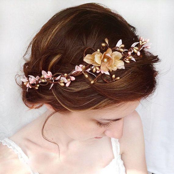 Accessoires cheveux de mariage rose fleur cheveux par thehoneycomb, $105.00