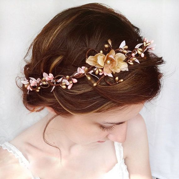 wedding hair accessories, pink flower hair circlet, gold flower hair accessory, wedding headpiece - SERAPHIM - bridal flower hair wreath on Etsy, $95.00