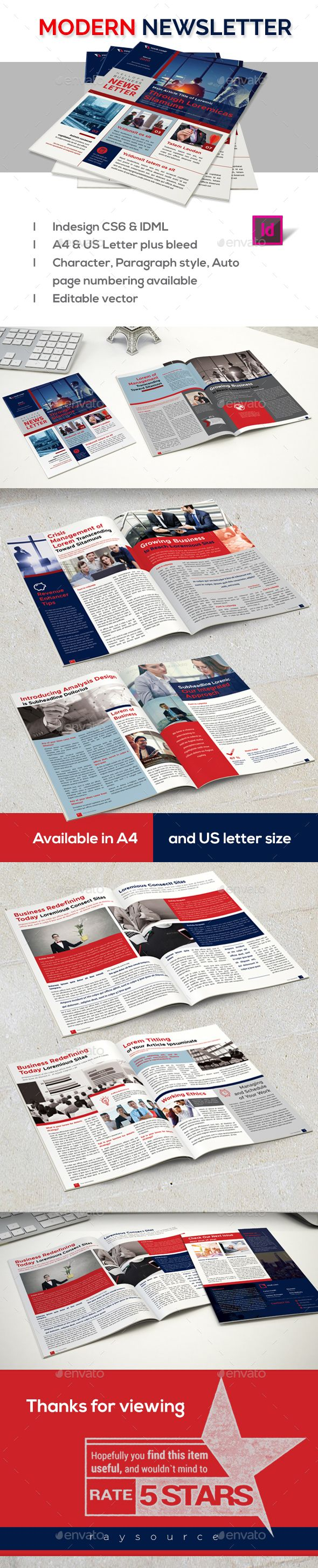 Modern Newsletter Newsletters Print Templates Download