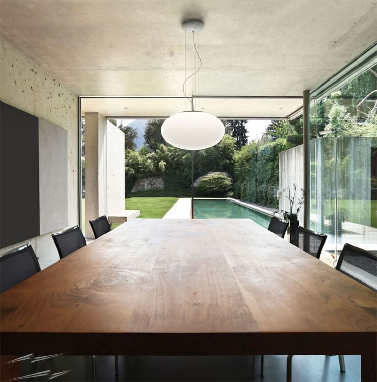 This is how the @astrolighting  7094 - Zeppo 400 Pendant with White Opal Glass Diffuser - looks like when installed. Cool! #CeilingLight #Pendant at www.sparksdirect.co.uk