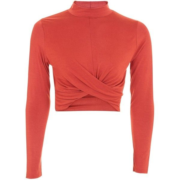 Topshop Petite Long Sleeve Twist Crop Top (50 BRL) ❤ liked on Polyvore featuring tops, rust, high neck crop top, cropped tops, high neck long sleeve top, rayon tops and red crop top