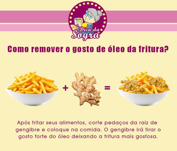 Como REMOVER o gosto de ÓLEO NA FRITURA? Veja esta e outras dicas em nosso blog: http://dicasdacasa.com/dicas-da-sogra-seu-guia-na-cozinha/