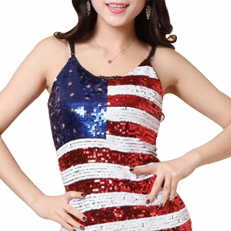 Sinful Sequin USA American Flag  Stars Stripes Women Camisole Tank T-Shirts  A01