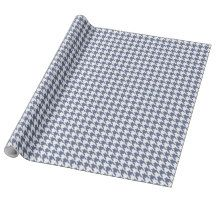 Navy Blue and White Hounds Tooth Gift Wrapping Paper