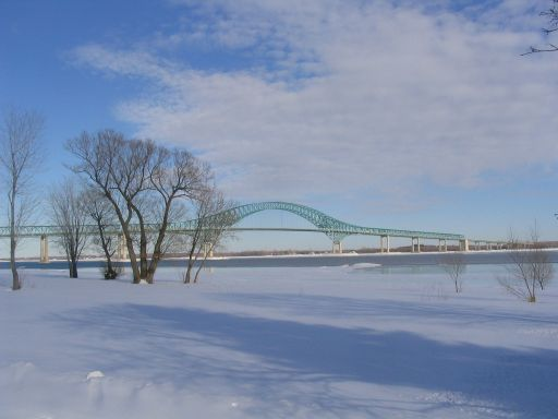 Trois-Rivieres (Three Riveres) Bridge, Quebec - My hometown. This is the bridge that crosses the St-Lawrence River (or better known in French, La Riviere St-Laurent).