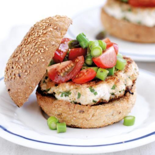 Chicken burgers with chunky vegie salsa