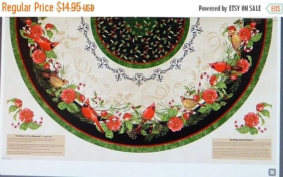 """YEAR END SALE Christmas in the Wildwood Half Tree Skirt Panel 30"""" x 58""""~ Cotton Fabric by~Wilmington Prints~Hc425 Fast Shipping"""