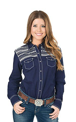 Ariat Women's Festival Navy Long Sleeve Western Shirt