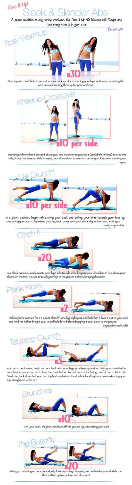 Tone It Up Sleek & Slender Ab Workout. I have really weak abs, so I'll definitely use a lighter dumbbell next time. Fives are maybe better-suited to the overhead stuff.