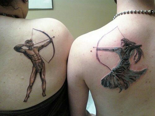 Apollo and Artemis tattoos