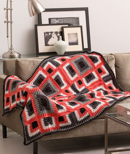 Dynamic Squares Throw Free Crochet Pattern in Red Heart Yarns
