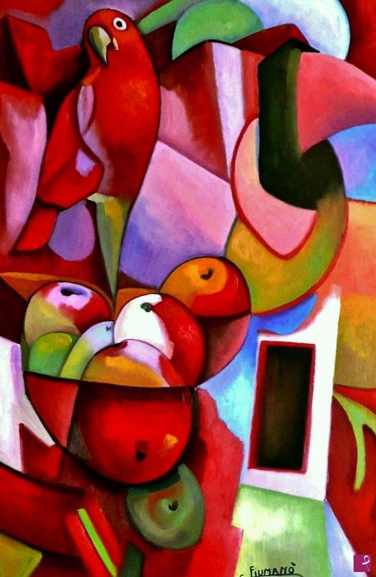 Fruttiera con pappagallo di Salvatore Fiumanò Detto Valò