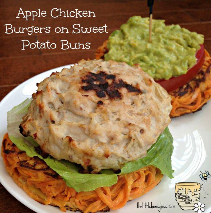 Apple Chicken Burgers on Sweet Potato Buns {paleo} http ...