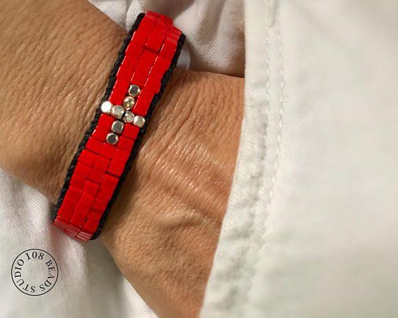 Red Beaded Bracelet, Festival Bracelet, Happy #jewelry #bracelet @EtsyMktgTool #bracelets #jewelry #redbeadedbracelet #festivalbracelet
