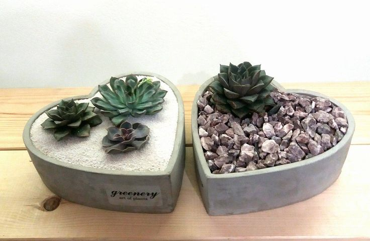 Concrete hearts with succulents #greenery #pots #planters #airplants #succulents #cactus #plants #chania #greece