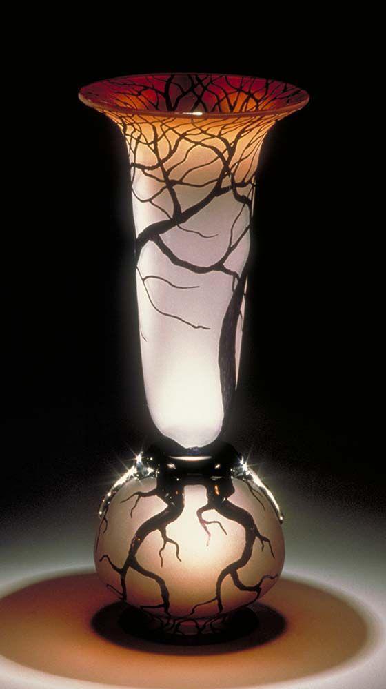 Bernard Katz  ~  Large Tree Root Vase  ~ sunset salmon color ~ 20″- 22″ tall