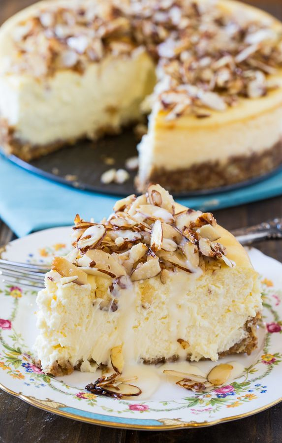 Amaretto Cheesecake with sugared almonds and amaretto cream sauce
