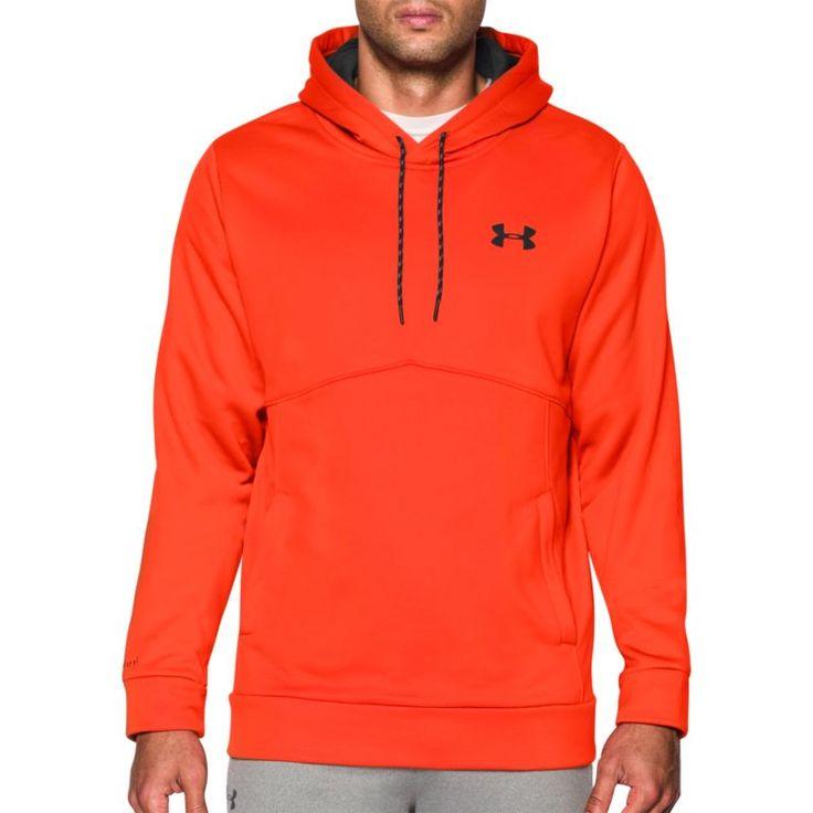 Under Armour Men's Armour Fleece Icon Solid Pullover Hoodie, Dark Orange/Black