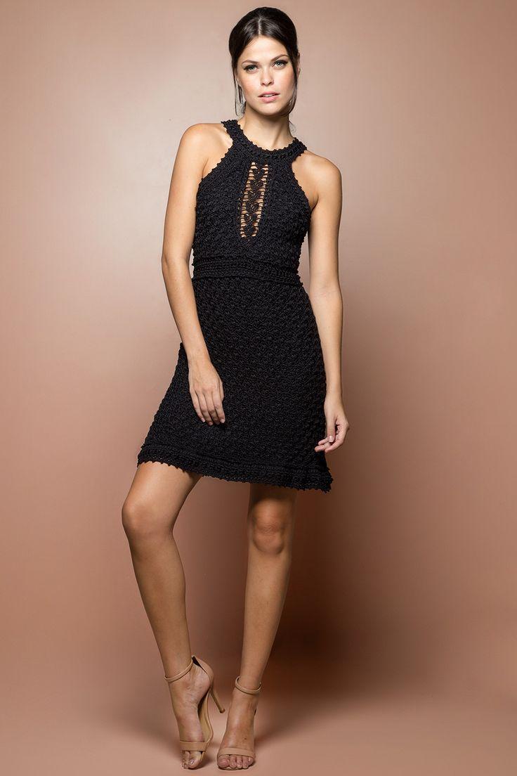 Vestido Crochet Paradise Preto - Vanessa Montoro - vanessamontoro